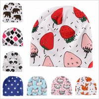 Wholesale Crochet Tiger Hat - Baby Hats INS Soft Cotton Beanie Newborn Christmas Fashion Caps Cartoon Fox Hat Animal Print Cap Winter Panda Tiger Fruit Bonnet Caps B2963