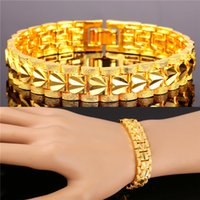 Wholesale Gold Love Bracelets - U7 Romantic Heart Bracelet Gift for Love Platinum 18K Real Gold Plated Carving Wristband Chain Bracelet Fashion Accessories Gold Bracelet