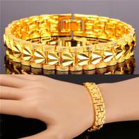 romantisches liebesarmband großhandel-U7 Romantisches Herz Armband Geschenk für Liebe Platin / 18K Reales Gold überzogenes schnitzendes Armband-Kettenarmband-Art- und Weisezusätze Goldarmband