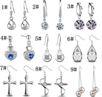 Wholesale cute heart copper earrings for sale - New Silver Crystal Earrings for Woman Gemstone Crystal Cute Monkey face Cross Long Earring Valentine Gift Korean Fashion Jewelry
