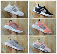 Wholesale Customized Shoes - 2017 New NMD Runner R1 Primeknit Crystal Customize Black White Grey Pink Womens Running Shoes Originals Nmds Sports Sneakers Size EUR 36-40