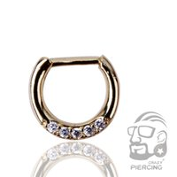 Wholesale Top Quality Nose Stud - Gold Plated Body Nose Ring Septum Clicker with high quality Gems Nose Piercing Jewelry Top Quality
