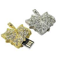 Wholesale Usb Flash Drive Metal Jewelry - Jewelry Leaf Metal Memory USB Stick Flash Drives USB 2.0 Real 2GB 4GB 8GB 16GB Memory USB Sticks