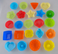 Wholesale Silicone Cake Moulds Wholesale - Hot sale! Round shape Silicone Muffin Cupcake Mould Case Bakeware Maker Mold Tray Baking Cup Liner Baking Molds