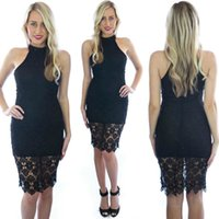 Wholesale Turtle Prom Dress - 2016 Lace Dress For Women Fashion Turtle Neck Sleeveless Hollow Out Bodycon Knee-Length Prom Dress Wholesale Free Shipping 2069