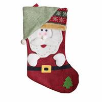 Wholesale Big Snowmen Santa Christmas - 2Pcs  lot New Christmas Socks Santa Claus Big Hanging Candy Gift Bag Snowman Xmas Decorations Home