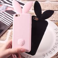 étui iphone lapin noir achat en gros de-Étui 3D Lapin Mignon Pour iPhone 7 7plus Silicone Souple Pour iPhone 6 6plus 6s 6splus 5 5S SE Mignon Rose Noir Fille Couverture