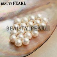 perlas redondas blancas de agua dulce sueltas al por mayor-50 Piezas Venta al por mayor 9-9.5mm Perlas Redondas Blancas de Agua Dulce Perlas Sueltas Perlas Cultivadas Medio perforado o No perforado