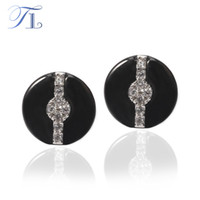 TL Ceramic Stud Earrings Smooth Round BlackWhite Ceramic Cubic Zircon Crossing Surface Brincos Especial Design Ceramic Jewelry