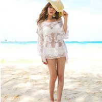 Wholesale Swimsuit Pareo Cover Up - Summer Bathing Suit Cover Up Bikini Swimwear White Print Chiffon Beach Tunic Top Pareo Sexy Swimsuit Beachwear For Lady