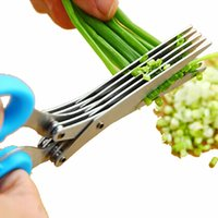 Wholesale Green Shallots - Wholesale-Multifunction Stainless Steel Kitchen Scissors Scallion Shallot Green Onion Scissors Slicer Cutter Fresh Spices Broken Knife