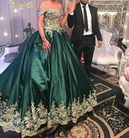 Wholesale Glamorous Line Party Dresses - Robe De Soiree Glamorous Off Shoulder Prom Dresses Princess Dark Green Satin With Lace Appliques Evening Dresses Formal Party Wear Gowns
