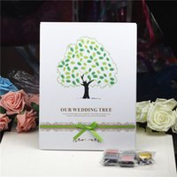 parmak izi ağacı konuk defteri toptan satış-2016 Parmak Izi Düğün Ağacı Ve Inkpad Düğün Ziyaretçi Defteri Ağacı Benzersiz İmza Ziyaretçi Defteri Vintage Düğün Süslemeleri Parti Malzemeleri