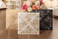 Wholesale Elegant Floral Cut Wedding Invitations - Wholesale- Free Shipping 50pcs lot Affordable Pearl White Gold Black Floral Laser Cut Wedding Invitations Cards Elegant Wedding Invitations