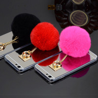 Wholesale Iphone Case Rabbit Mirror - Newest Fashion Luxury Metal Rope Mirror TPU phone Cases Cute Rabbit Fur Ball For iPhone6 6s plus iphone 5s DHL FREE