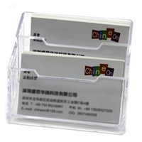 Wholesale Desk For School - Wholesale-Double Layers Clear Plastic Durable Business Name Cards Holder for Office Table Desk School