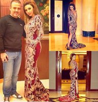 Wholesale Evening Gown Black Jersey - Stunning Arabic Vestido De Fesita 2017 Long Sleeves Evening Dresses Burgundy Major Beading High Split Side Plunging Neck Prom Gowns Custom