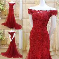 Wholesale Red Off Shoulder Short Dresses - 2016 New Red Lace Mermaid Prom Dresses Veatidos off Shoulder Beaded Appliques Tulle Floor Length Long Evening Gowns With Short Sleeves