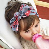 sombreros bohemios al por mayor-6 colores bebé impreso flor conejo oreja diademas niños bohemio nudo diadema sombreros accesorios para el cabello Boutique arcos de pelo Niño Hairbands
