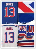 хоккей с майкой оптовых-Лучшее качество хоккейные майки льда фарфора #13 Кевин Хейс Roupas команда цвет королевский синий Whie все сшитые логотипы размер S-4XL дешевые