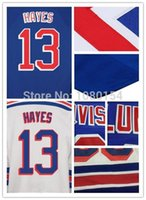 hockey jersey s china großhandel-Beste Qualität Hockey Trikots Ice China # 13 Kevin Hayes Roupas Team Farbe Royal Blue Whie alle genähte Logos Größe S-4XL Billig