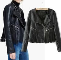 Wholesale Leather Fringe Jacket Xl - ON SALE Black Leather Fringe Coat Vintage 80s Rocker Chic Boho PU Leather Jacket