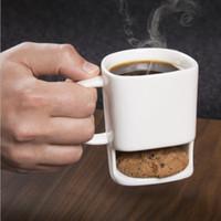 карманный кофе оптовых-Печенье Молоко Кружка кофе Керамические чашки Dunk Mug С Бисквит Карманный держатель офиса Кофе Кружки OOA3093