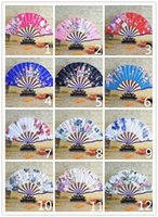 Wholesale Fabric Folding Hand Fans - 21cm Portable Japanese Style Satin Fabric Ladies Folding Hand Fan Crooked Bamboo Fan Party Favor wen4785