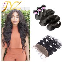 Wholesale malaysain hair - 13x4 Lace Frontal With Bundles Virgin Malaysain Human Hair Lace Frontal Closure With Bundles Body Wave Cheap Body Wave Frontal