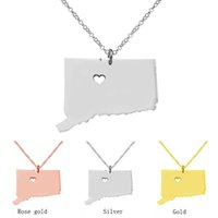 Wholesale 18k Ct Chain - US Connecticut State map pendant necklaces personality CT State pendnat statement State Necklace for women Handmade jewelry wholesale