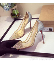 Pointed Toe Stiletto Sapatos de casamento Nude Mesh Sparkling Sequins Rhinestone Heels Party Hot Clubbing Shoes Super High