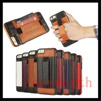 Wholesale Iphone Case Hand Holder - Luxury Retro leather TPU Case Cover W  Card slots Hand Holder for iphone 6 6S plus 5S 5SE Samsung Galaxy S6 S7 Edge