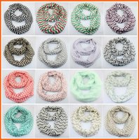 Wholesale Plaid Circle Scarf - NEW fashion Wave Print Scarfs Circle Loop Cowl Infinity Scarves Ladies Scarves Voile Multi color printing woven scarf 4153