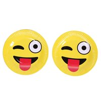 Wholesale Dish Paper - Emoji Cake Dish Many Styles Lovely Disposable Yellow Round Paper Plate Dinnerware For Festival Party Articles 1 8sh C R