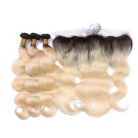 Wholesale Closure For Brazilian Hair - 1B 613 Blonde Lace Frontal Closure With Bundles Brazilian Virgin Hair With Frontal Closure Body Wave ombre Hair With Lace Frontal For 13*4
