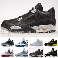2017 Basketball Schuhe Retro (4) IV ROYALTY CEMENT Grün Glow Alternative Günstige Sportschuhe Leder Herren Turnschuhe Im Freien Leichtathletik Schuhe