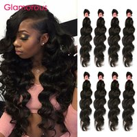 Wholesale Double Wefted Hair Extensions - Glamorous Best Selling Double Wefted Malaysian Hair Extensions 100% Human Hair Weft Peruvian Indian Brazilian Hair Weaves 4 Bundles