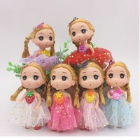 Wholesale 12cm Baby Dolls - Multi Colors Lovely Big Eyes Girl Doll 12CM Dress Skirt Dolls Holder Bag Car Styling Toy Keyring