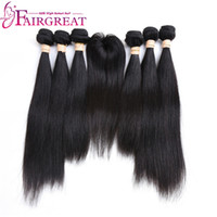 Wholesale Colored Brazilian Hair - Fairgreat Pre-colored Remy Straight Hair 6 Bundles With Closure Human Hair Bundles With Lace Closure Virgin Brazilian human hair Extensions
