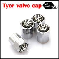 Wholesale Vw Tyre Valve Caps - SILVER CHROME STRONG WHEEL VALVE CAP TYRE STEM AIR CAPS for VW Golf 4 5 6 Jetta MK5 MK6 POLO passat MAGOTAN