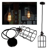 Wholesale Edison Retro Vintage Antique Practical Home Decor Ceiling Pendant Light Metal Column Cage Lampshade