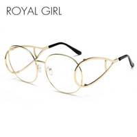 Al por mayor-ROYAL GIRL Moda Mujeres Gafas de sol Vintage Oval Modelado Metal Frame Eyewear Clear Glasses ss115