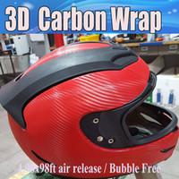vinyl-film kohlenstoff 3d rot großhandel-Rotes Carbon-Vinylkohlenstofffaser-Auto-Einwickelfolien des Carbon-3D mit Luftablaß Für Fahrzeugabdeckungen folieren Sie vinyle 1.52x30m / Rolle