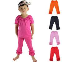 Wholesale ruffle leggings - New girls ruffle pants Baby Warmer Leggings Tights kids Trousers cotton Pants 10 styles A08