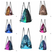 8 cores Mermaid Sequin Backpack Sequins Drawstring Bags Reversível Paillette Outdoor Mochila Glitter Sports Shoulder Bags CCA7890 50pcs