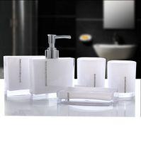 Wholesale Bath Brush Set - Acrylic Five Pieces Set Bath Wash Set Gift Bathroom Supplies Diamond Cup Brush Lovers Soap Dish Toothbrush Holder