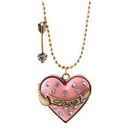 золотой наконечник стрелы оптовых-Love Pave Heart Медальон Бриллиантовое Колье И Кристалл Arrowhead Ожерелья с Золотым Шаром Цепи Сердце Коробка Ожерелье для Дамы Подарок