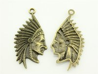 Wholesale Chief Pendant - 40pcs lot 55*28mm vintage antique bronze plated indiana chief pendant charms, diy vintage jewelry wholesale