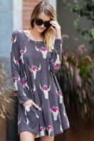Wholesale Hot Dresses For Ladies Sexy - 2018 Hot Spring Women Cow Head Dresses long Sleeve Sexy Woman printing Dress For Lady