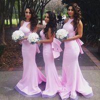 Wholesale Ruffled Layers Bridesmaid Dresses - Sexy Pink Mermaid Beach Bridesmaid Dresses 2016 Layers Train Maid of the Honor Dress Vestido Madrinha Evening Dress Prom Dress